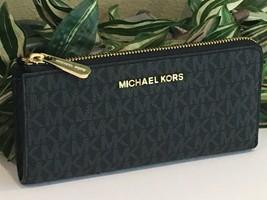 MICHAEL KORS JET SET TRAVEL LARGE 3/4 ZIP WALLET BLACK SIGNATURE GOLD $228 - $68.30