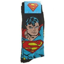 DC COMICS SUPERMAN BLUE EYES MEN'S CREW SOCKS 6-12 2 PAIR NEW - $8.57