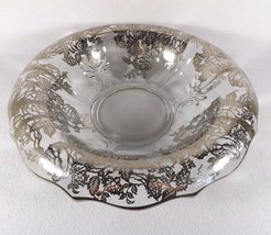 GORGEOUS CONSOLE BOWL FOSTORIA BAROQUE ROSE LOVERS SILVER OVERLAY ROLLED... - $59.96