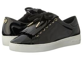 Michael Kors Keaton Kiltie Black Patent Leather Fringe Gold Logo Sneaker... - $42.74