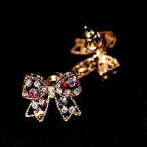 Women Stud Earrings Love Luxury Cute Style Rhinestone Alloy Bowknot - 1x Random image 3