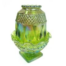 Westmoreland Lime Green Carnival Glass Fairy Lamp Thumbprint Diamond Pat... - $123.70