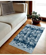 TreeWool, French Toile Accent Cotton Flat Weave Rectangular Area Rug wit... - $19.99