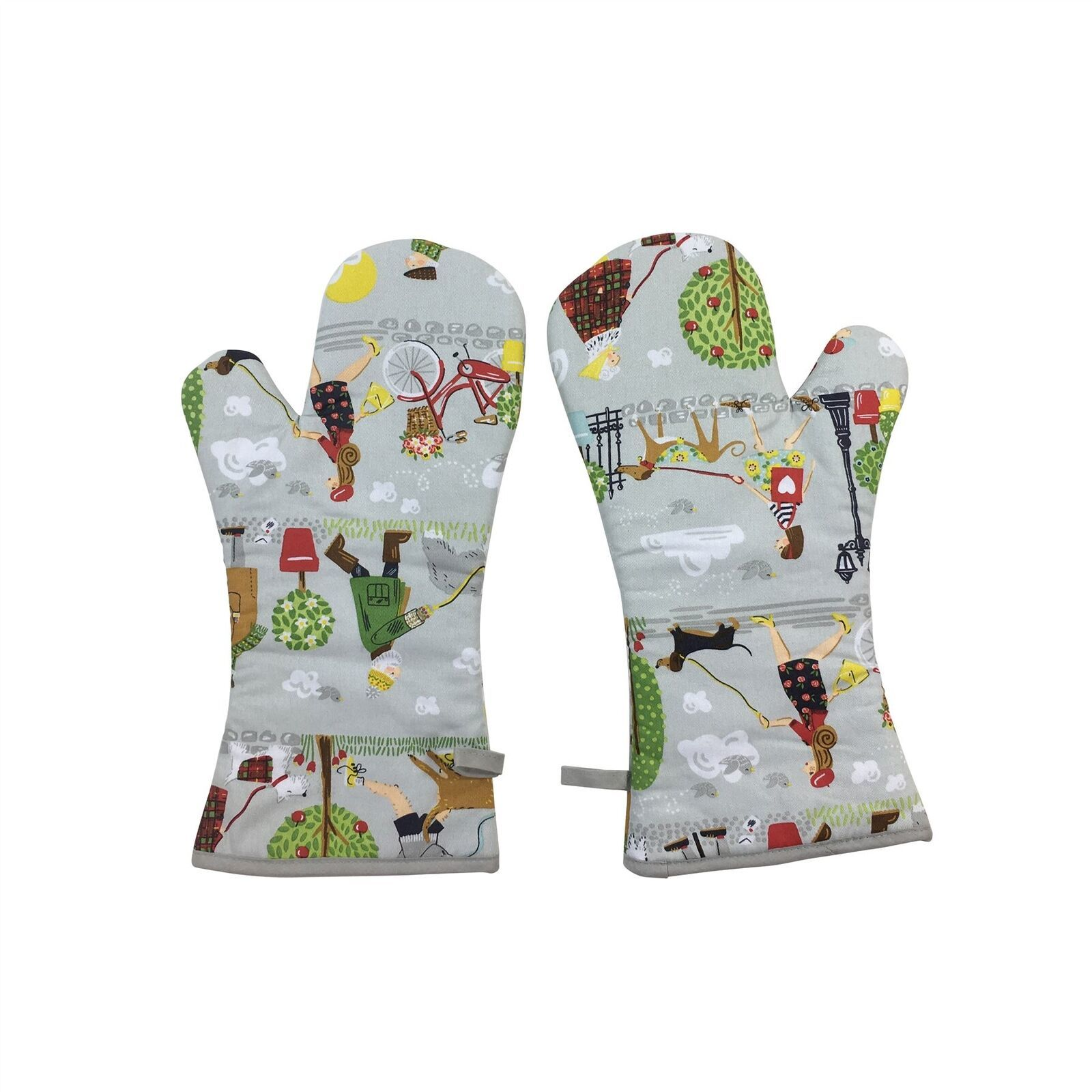 PAIR OF DOG WALKERS TREES GREY RED GREEN COTTON SINGLE OVEN GLOVES & TEA TOWEL