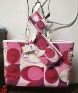 NWT COACH SIGNATURE OPTIC PINK SUEDE GALLERY TOTE, WRISTLET, COIN WALLET  - $297.00