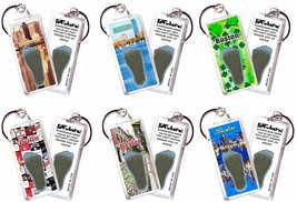Boston FootWhere® Souvenir Keychains. 6 Piece Set. Made in USA - $28.50