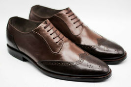 Handmade Men's Brown Two Tone Wing Tip Brogues Dress/Formal Oxford Leather Shoes image 2