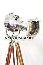 Heavy Chrome Vintage Theatre Spot Light Floor Lamp Wooden Tripod Stand - $890.01