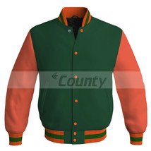 Letterman Super Baseball College Bomber Jacket Sports Forest Green Orang... - $49.98+