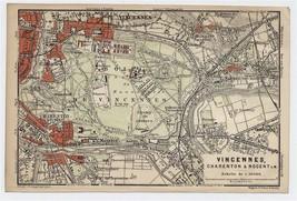 1904 ORIGINAL ANTIQUE MAP OF VINCENNES CHARENTON-LE-PONT PARIS FRANCE  - $21.78