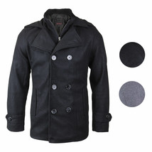 Kebo Men's Stylish Modern Button Up Double Breasted Multi Pocket Peacoat Jacket