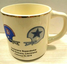 Super bowl XII Coffee Mug Cup vtg Denver Broncos Dallas Cowboys 1978 Sup... - $58.62