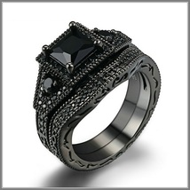 Exquisette Black Pave Cubic Zircons Black Diamonds Black Gold Plated Rings Sets image 1