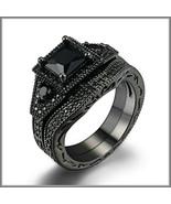 Exquisette Black Pave Cubic Zircons Black Diamonds Black Gold Plated Rin... - $83.95