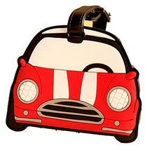 Set of 2 [Red Car] Portable Luggage Tags Silicone Name Tags Unique Luggage Tags
