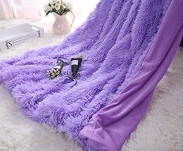 HUAHOO Super Soft Shaggy Chick Longfur Purple Throw Blanket for bed- Snu... - $36.28 CAD