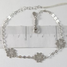 White Gold Bracelet 750 18K with Three Daisies, Flowers, Length 18 CM - $312.86