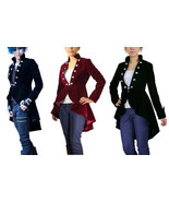 Plus Size Victorian Goth Velvet Jacket Spring Tail Coat Black Burgundy D... - $82.82