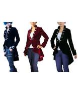 Plus Size Victorian Goth Velvet Jacket Spring Tail Coat Black Burgundy D... - $87.03