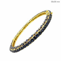 Zafiro Gemstone14k Pavé Diamante Dorado Pulsera Plata 925 - $788.93