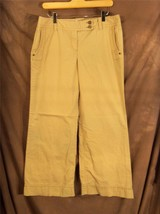 W6232 Women ANN TAYLOR LOFT Marisa Khaki Tan Wide BOOT CUT PANTS Slacks ... - $13.55