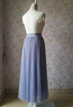 Gray Full Long Pleated Skirt Women High Waisted Gray Pleated Tulle Maxi Skirt  image 6