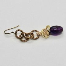 Drop Earrings Aluminum Laminated Yellow Gold with Amethyst Purple Oval image 2