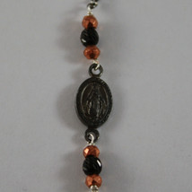 .925 RHODIUM BURNISHED SILVER BRACELET WITH ROSE GOLD PLATED SPHERES AND MEDAL image 2