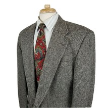 Lands End Mens Beige Black Tweed Sport Coat Jacket Wool Two Button 44L M... - $39.99