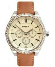 Fossil Ladies Caressa Silver/ Ivory Dial Dark Tan Leather Band Watch BQ3089 - $93.50
