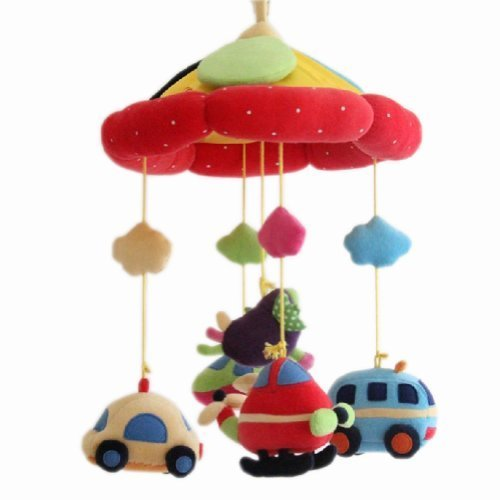 Cars Cute Newborn Infant Crib Decor Mobile Baby Take Along Musical Bed Bell RED