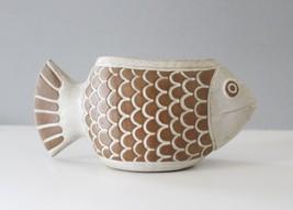 Vintage David Steward Lion's Valley Fish Planter Ceramic Flower Pot Mid ... - $46.22