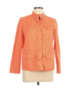 Women's Talbots Stretch Orange Button Front Jacket Large Petite PL 100% Cotton - $36.10