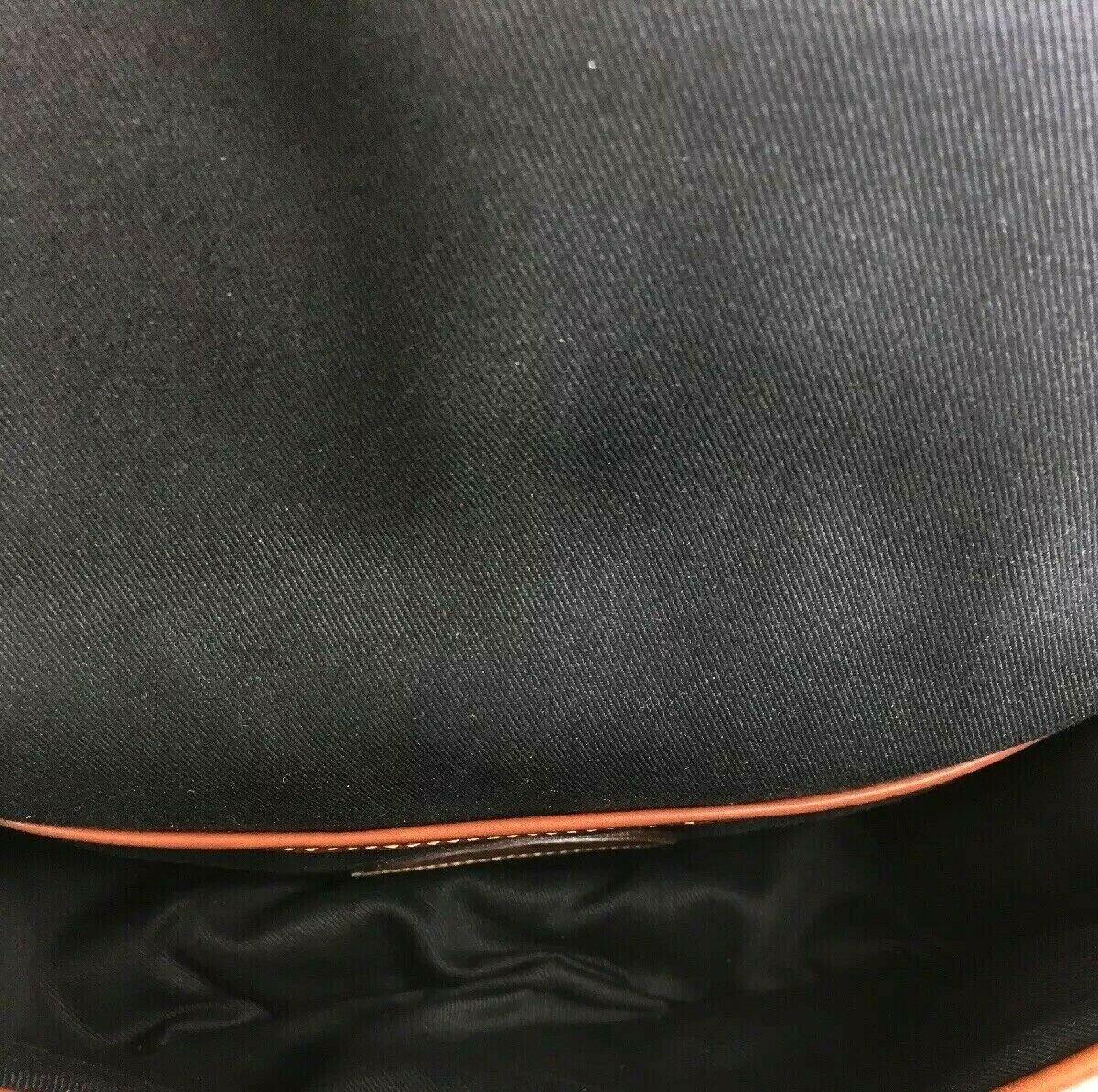 Tusting Vintage Black Leather Brown Trim Crossbody Shoulder Bag- Made in England
