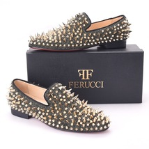 Men FERUCCI Gray Velvet Slippers Loafers Flat With Gold Spikes Rivets - $199.99