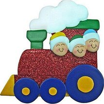 Family of 3 on Red Train Personalized Christmas Ornament Personalized Free - $9.99