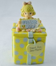 Thank You Sew Much 1999 Precious Moments Yellow Blue Polkadot Gift Figurine - $12.99