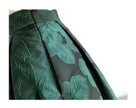 Women Dark Green Pleated Midi Skirt Outfit Pleated Party Skirt Plus Size image 12