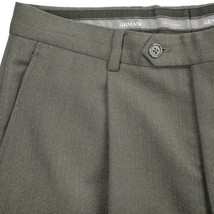Armani Collezioni Pleat Front Cuffed Italian Wool Dress Pants Taupe Brow... - $39.42