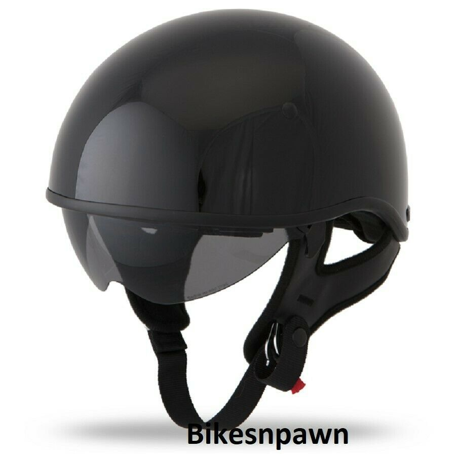 New XL Gloss Black Fly Racing DOT Approved .357 Motorcycle Half Helmet
