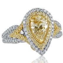 GIA 1.72 TCW Pear Shaped Yellow Diamond Engagement Ring 18k White Gold - $4,355.01