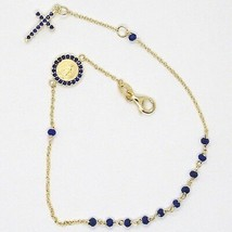 18K YELLOW GOLD ROSARY BRACELET, FACETED SAPPHIRE ROOT, CROSS, MIRACULOUS MEDAL image 2