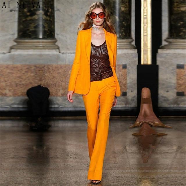 Orange fashion women s formal slim fit uniform style suits women s business elegant custom made