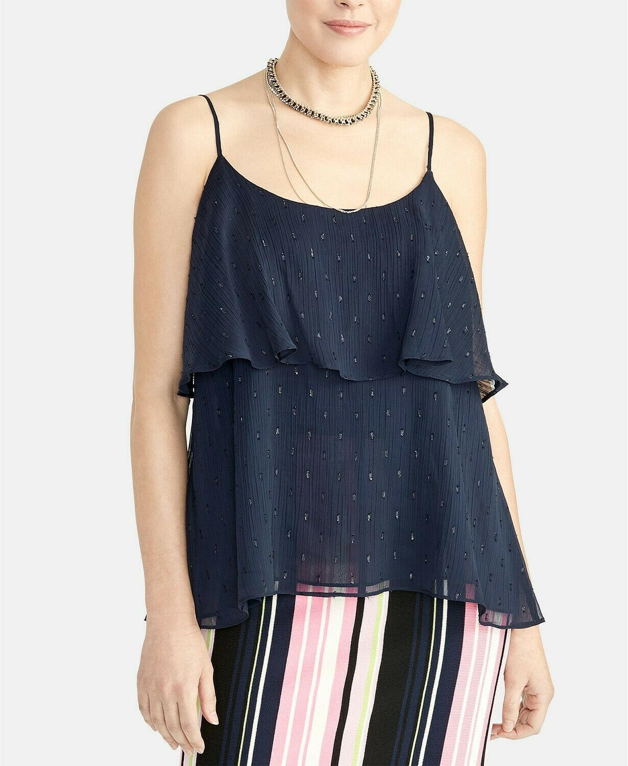 Primary image for Rachel Roy Women's True Navy Austen Tiered Camisole Top Blouse Size XL NWT $80
