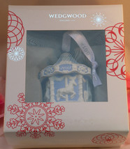 New Wedgwood Blue Jaspeware Baby 1ST First Christmas Carousel Ornament 2015 - $34.95