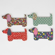 Set of 4 Colorful Dachshund Dog Shaped Nail Files /Emery Boards - $15.00