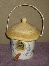 Teleflora Gift Porcelain Bird House Planter Top Open Wire Hanger Wood Perch - $14.80