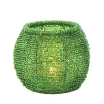 Emerald Green Beaded Candle Holder - $8.14