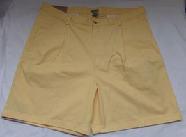 IZOD Mens Yellow NWT 40W Mens Pleated Front Shorts New - $31.74