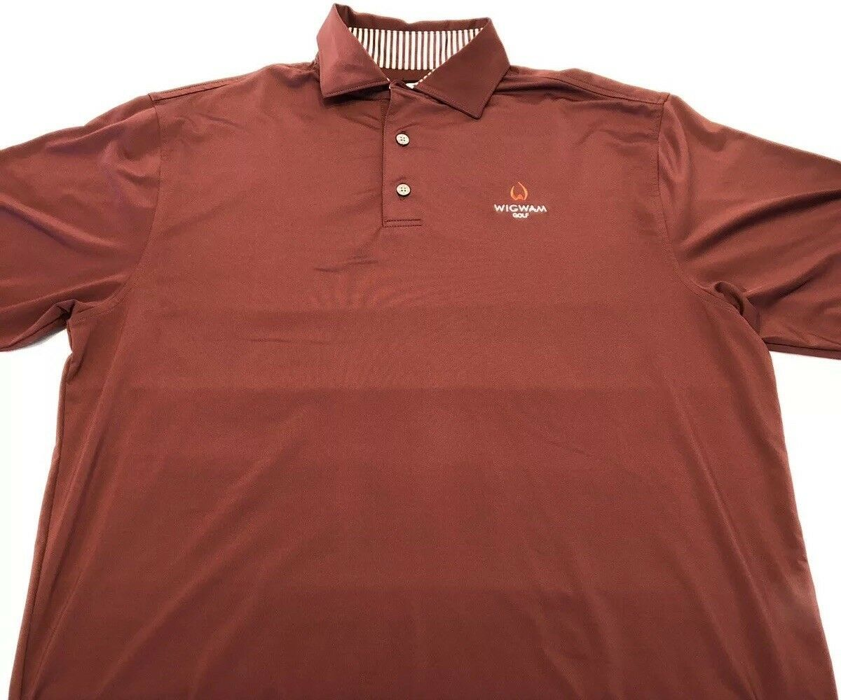 Men's FootJoy Wigwam Golf Maroon Polo 3 Button Size Large Embroidered Logo - $19.59
